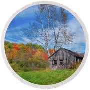 New England Fall Foliage Round Beach Towel