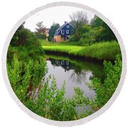New England House And Stream Round Beach Towel