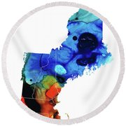 New England - Map By Sharon Cummings Round Beach Towel