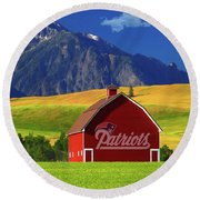 Round Beach Towel featuring the photograph New England Patriots Barn by Movie Poster Prints