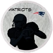 Round Beach Towel featuring the digital art New England Patriots Football by David Dehner