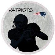 New England Patriots Football Round Beach Towel by David Dehner