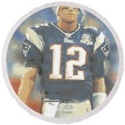 New England Patriots Tom Brady Round Beach Towel