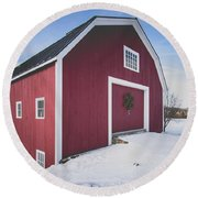 Round Beach Towel featuring the photograph New England Red Barn Winter Orford by Edward Fielding