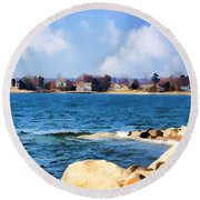 New England Shoreline - Painterly Round Beach Towel by Judy Palkimas