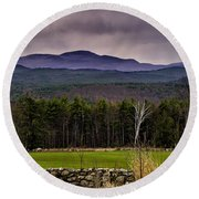 Round Beach Towel featuring the photograph New England Spring In Oil by Mark Myhaver