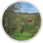 Round Beach Towel featuring the photograph New England Spring Pasture by Bill Wakeley