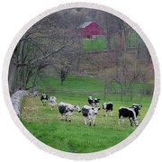 Round Beach Towel featuring the photograph New England Spring Pasture Square by Bill Wakeley