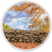 New England Stone Wall With Fall Foliage Round Beach Towel