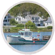 New England Summer Round Beach Towel
