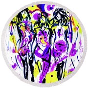 Round Beach Towel featuring the mixed media New Fashion by Zaira Dzhaubaeva