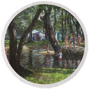 New Forest Camping Fun Round Beach Towel