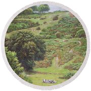 Round Beach Towel featuring the painting New Forest Hill With Cows And Horses by Martin Davey