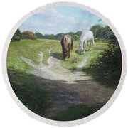 New Forest Horses With Light And Shade  Round Beach Towel