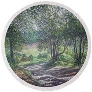 New Forest Path In Summer Evening Round Beach Towel