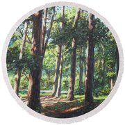 New Forest Trees With Shadows Round Beach Towel