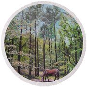 New Forest With Horse In Light  Round Beach Towel