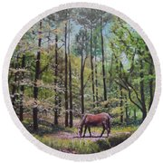 Round Beach Towel featuring the painting New Forest With Horse In Light  by Martin Davey