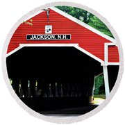 Round Beach Towel featuring the photograph New Hampshire Covered Bridge by Barbara S Nickerson