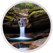 New Hampshire Sabbaday Falls And Fall Foliage Panorama Round Beach Towel