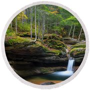 New Hampshire Sabbaday Falls Panorama Round Beach Towel