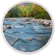 New Hampshire Swift River And Fall Foliage In Autumn Round Beach Towel