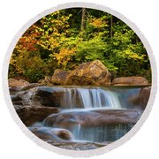 New Hampshire White Mountains Swift River Waterfall In Autumn With Fall Foliage Round Beach Towel