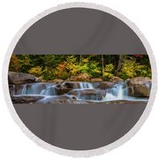 New Hampshire White Mountains Swift River Waterfall In Autumn With Fall Foliage Round Beach Towel by Ranjay Mitra