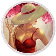New Hat Round Beach Towel