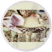 Round Beach Towel featuring the digital art New Hats by Bonnie Willis