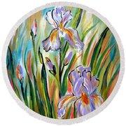 New Irises Round Beach Towel