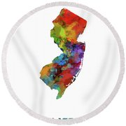New Jersey Map Watercolor Round Beach Towel