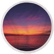 New Jersey Shore Sunset Round Beach Towel