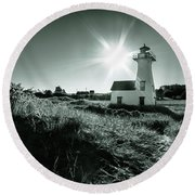 Round Beach Towel featuring the photograph New London Light Behind Dunes by Chris Bordeleau