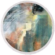 Round Beach Towel featuring the pastel New Mexico Horse Three by Frances Marino