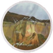 New Mexico Winter Colors Round Beach Towel