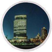 New Milwaukee Skyline Round Beach Towel by Randy Scherkenbach
