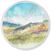 New Morning- Watercolor Art By Linda Woods Round Beach Towel