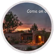 Round Beach Towel featuring the photograph New Neighbors Card by Dan McManus