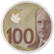 New One Hundred Canadian Dollar Bill Round Beach Towel