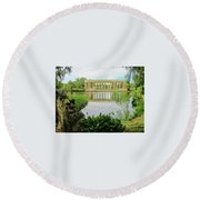 New Orleans City Park Peristyle From Goldfish Island Round Beach Towel by Deborah Lacoste