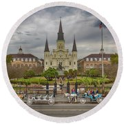 New Orleans Jackson Square Round Beach Towel