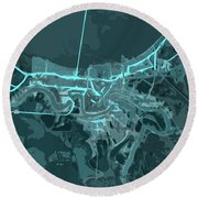 New Orleans Old Map Abstract Blue Round Beach Towel
