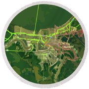 New Orleans Old Map Green Abstract Round Beach Towel