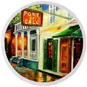 New Orleans Port Of Call Round Beach Towel
