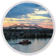 New Orleans Riverfront Round Beach Towel