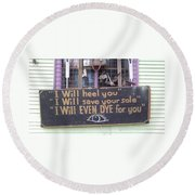 New Orleans Shoe Store Sign Round Beach Towel