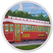 New Orleans Streetcar Round Beach Towel