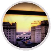 New Orleans Window Sunrise Round Beach Towel