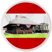 New Oxford Pennsylvania Train Station Round Beach Towel by Angela Davies